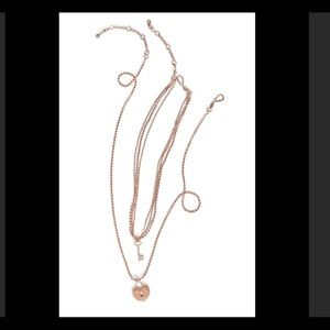 Cabi rose gold lock & key necklaces & earrings